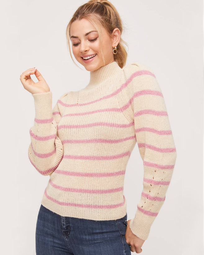 Oatmeal Striped Turtleneck Sweater