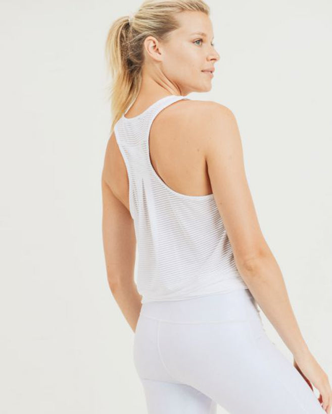 Sheer Striped Racerback Tank