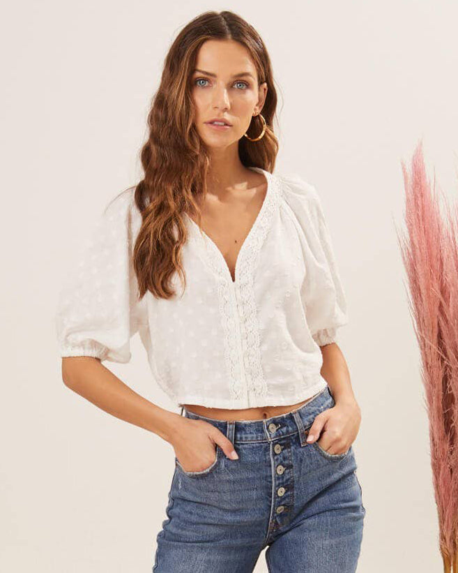 Lace Trim Puff Sleeve Top