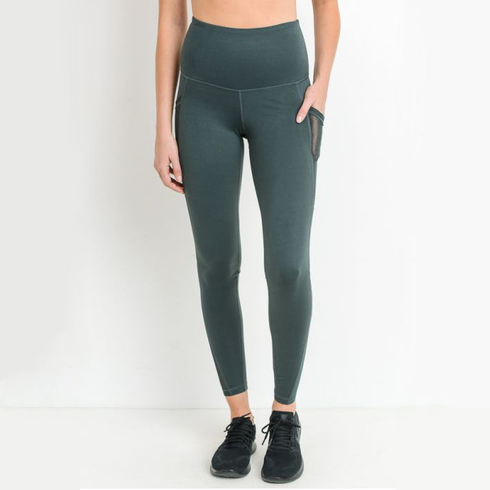 Highwaist Splice Mesh Pocket Leggings - Green