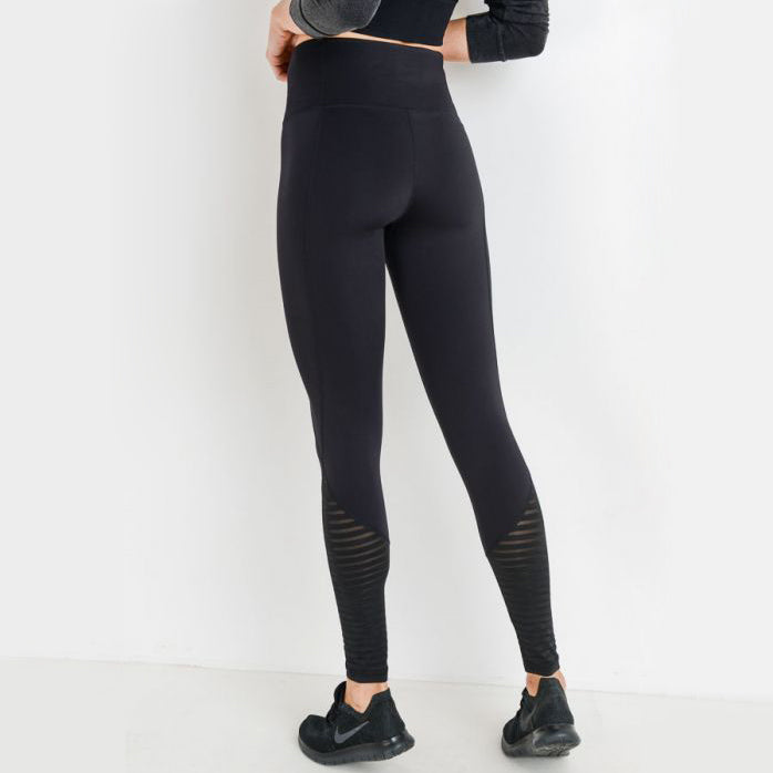 Striped Burnout Mesh Highwaist Leggings