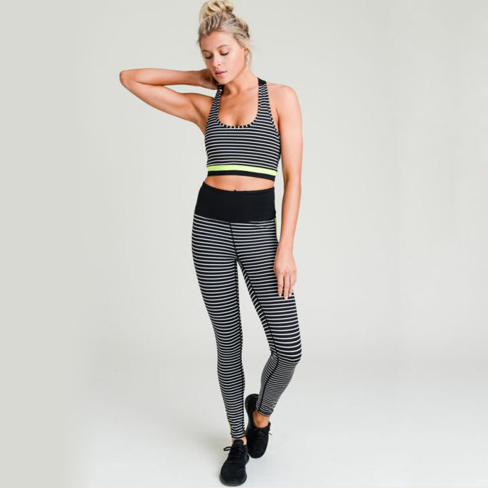 Neon Striped Triangle Racerback Sports Bra