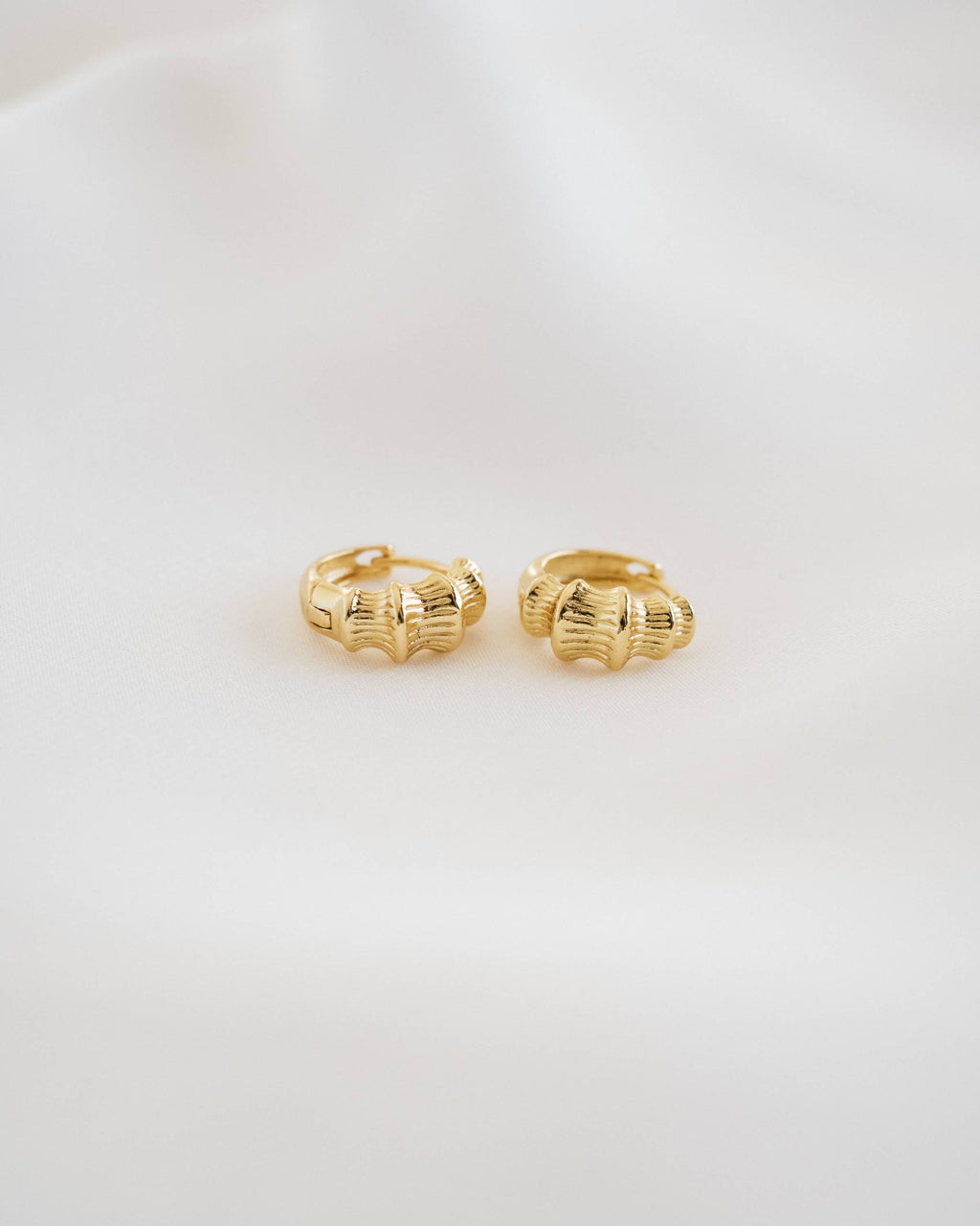 Mika Bamboo Huggie Earrings