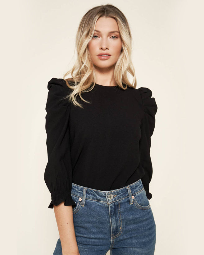 Puff Sleeve Blouse - Black