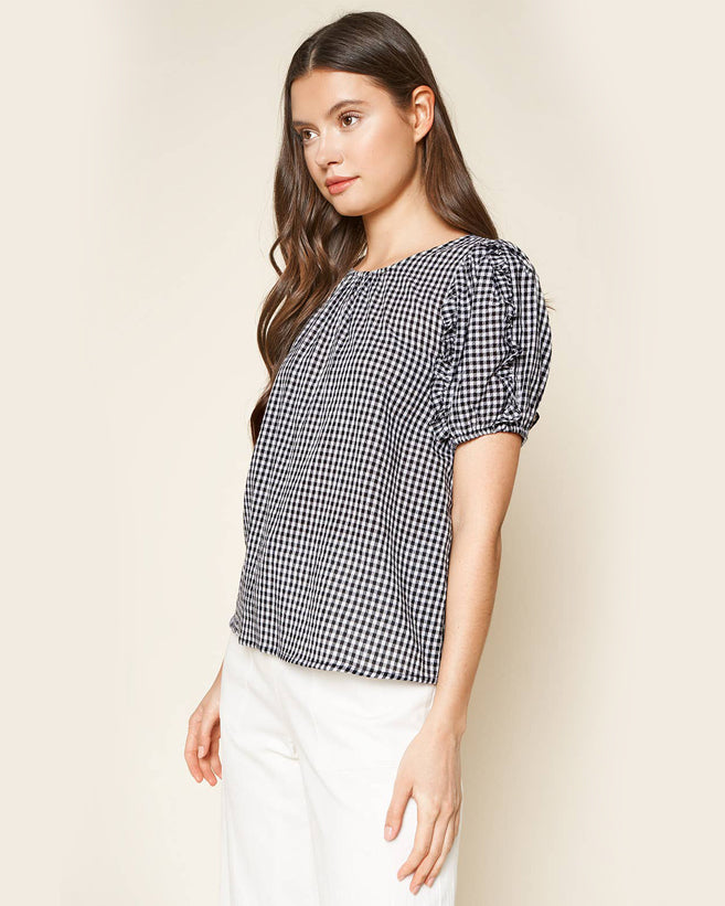 Gingham Puff Sleeve Blouse
