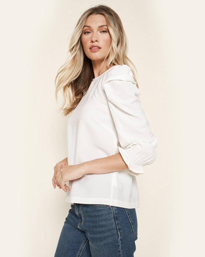 Puff Sleeve Blouse - White