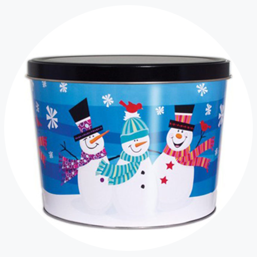 Trio of Snowman (Blue) Popcorn Tin (2 Gallon - 2 Flavors)