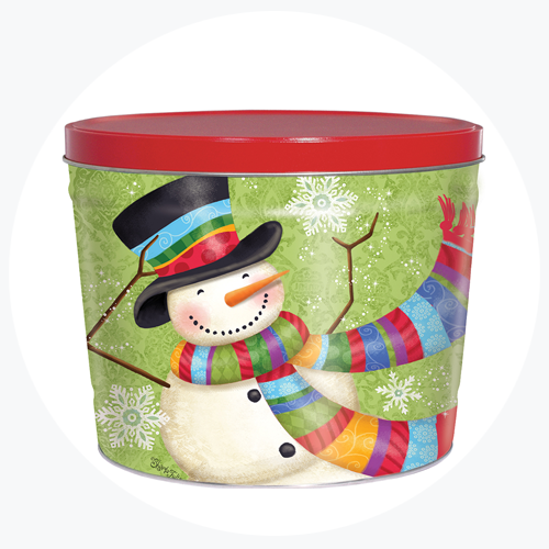 Snowman Green Popcorn Tin (2 Gallon -- 2 Flavors)