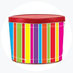 Mulit-Color Striped Popcorn Tin (2 Gallon - 3 Flavors)