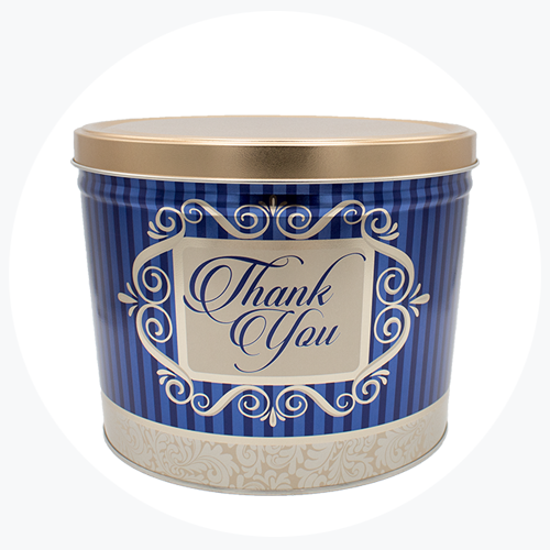 """Thank You"" Popcorn Tin (2 Gallon - 3 Flavors)"