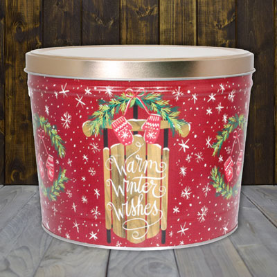 Warm Winter Wishes Popcorn Tin (2 Gallon - 2 Flavors)