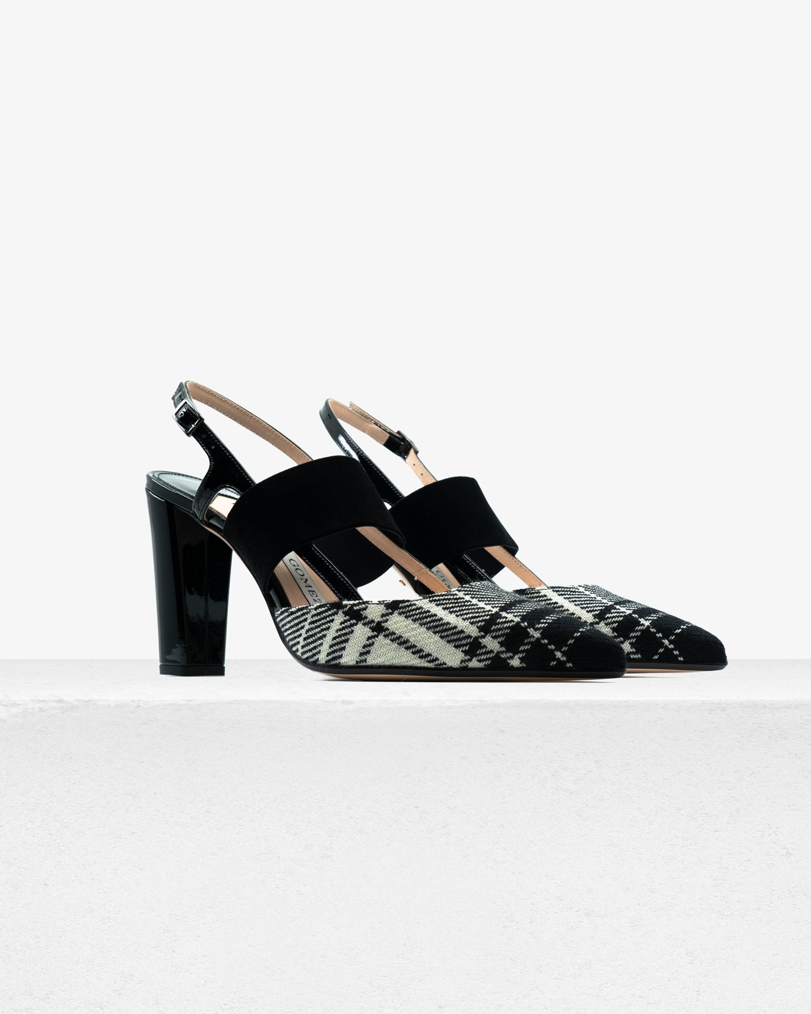 Grace Black White Plaid Patent
