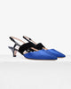 Greta Royal Blue Satin and Black Patent Leather