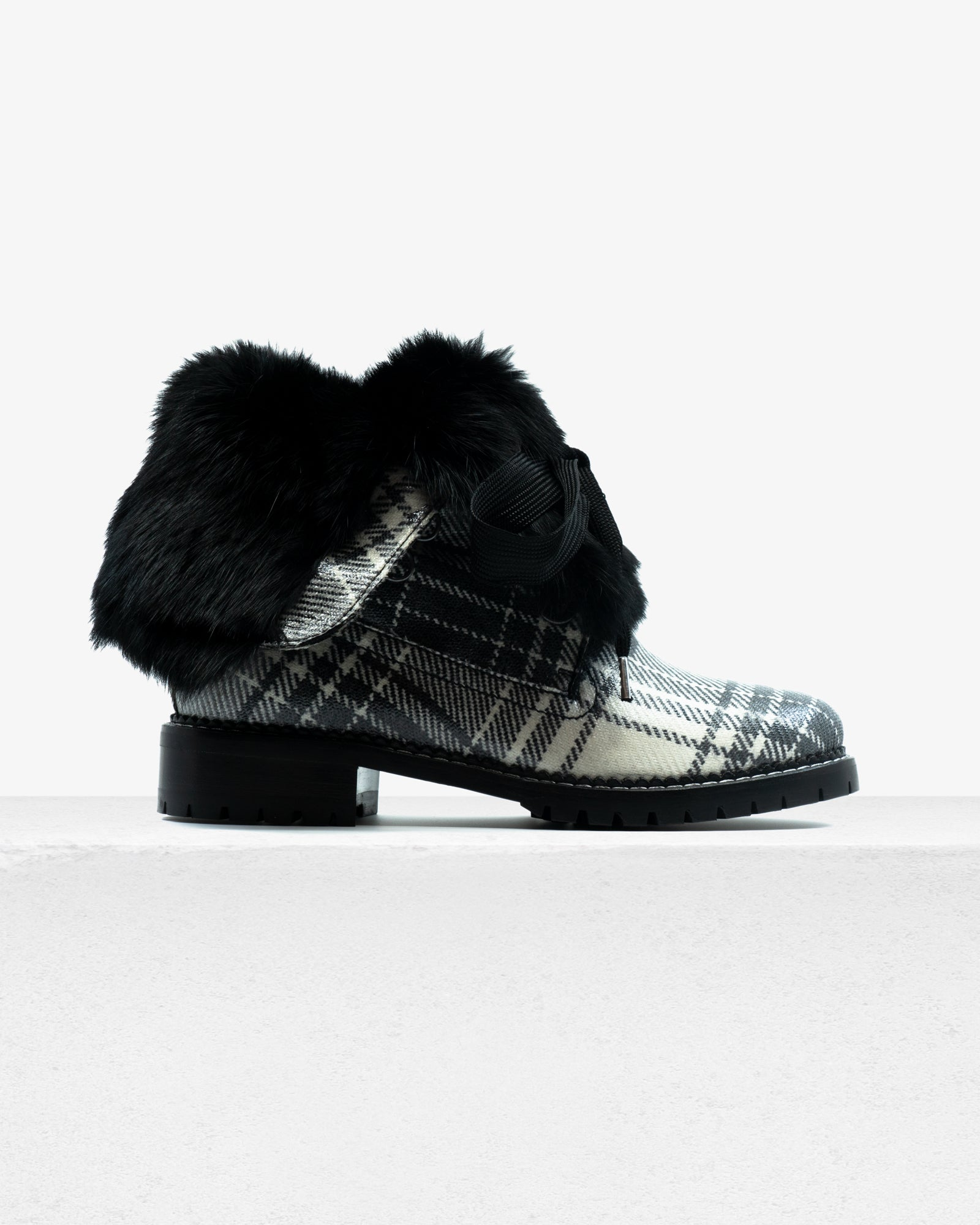 Trapper Boot Black White Plaid