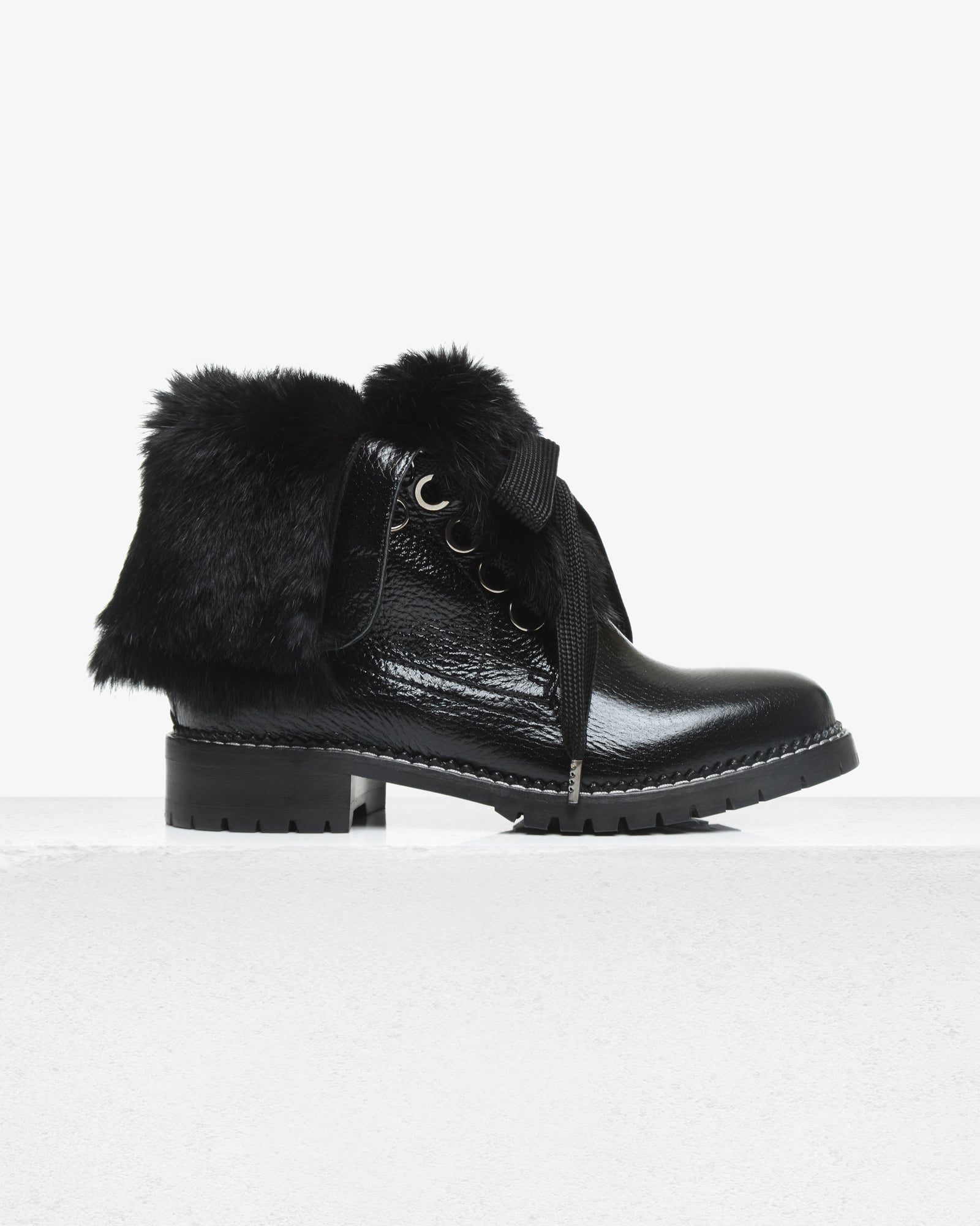 Trapper Boot Black Patent