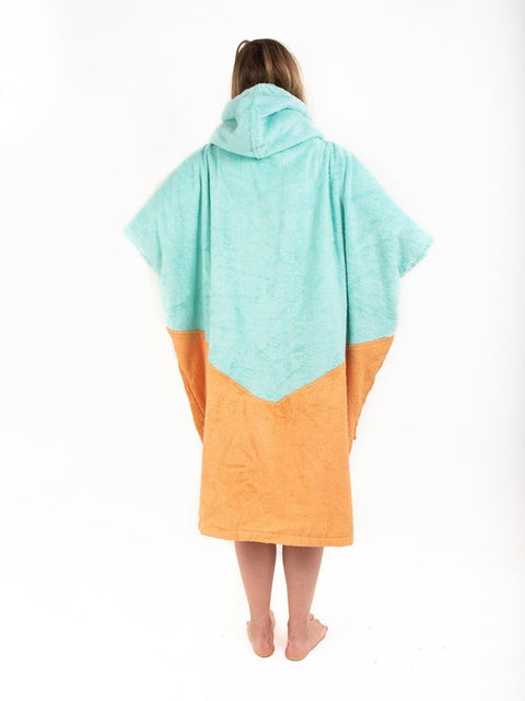 ALL-IN V Poncho organic aqua/melon - Wake Stoff