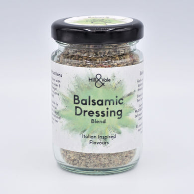 Balsamic dressing spice blend in glass jar