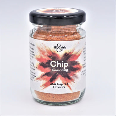 Chip seasoning spice blend in glass jar