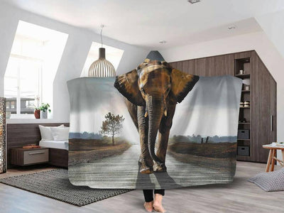Nature Elephant Hooded Blanket for Adults and Kids