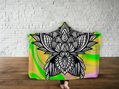 Tie Dye Rave Trippy Flower Hooded Blanket