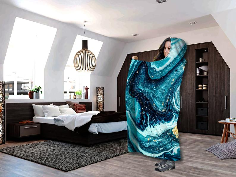 Beach Trippy festival Hooded Blanket