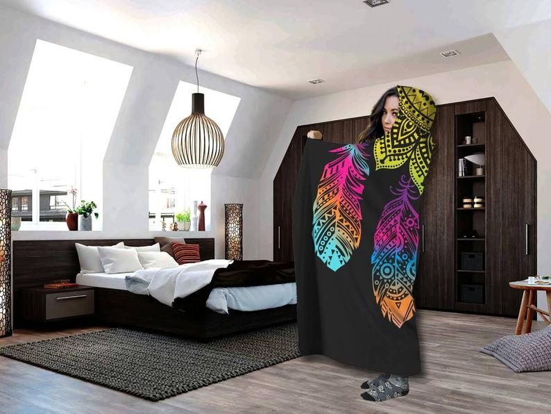 Bohemian Mandala Leaves Hooded blanket for Kids and Adults