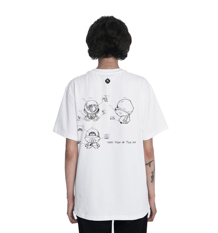 "White ""Year of the Ox"" Blueprint T-Shirt"