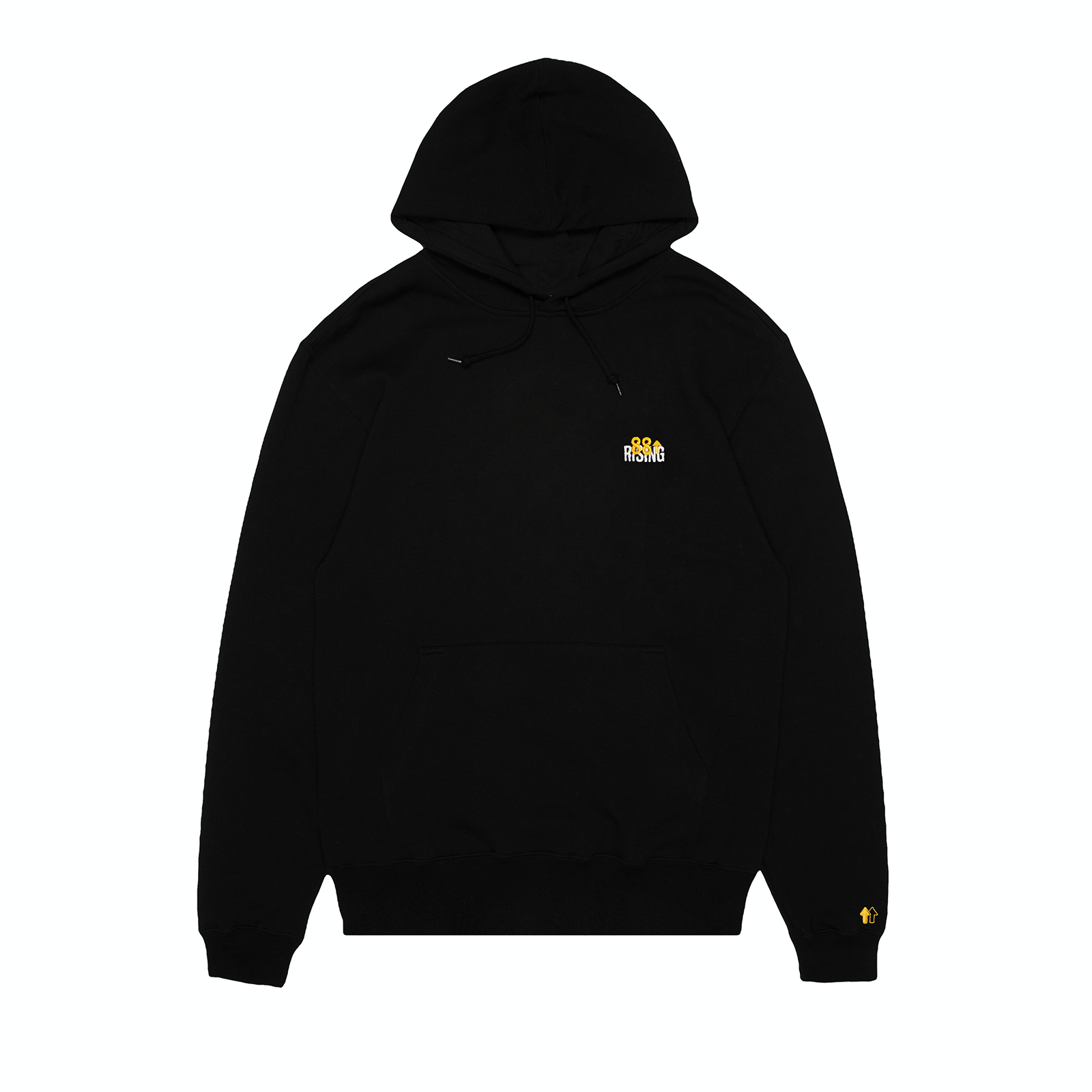 EMBROIDERED LOGO BLACK FLEECE HOODIE