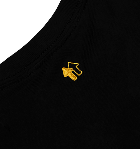 EMBROIDERED LOGO BLACK CREWNECK TEE