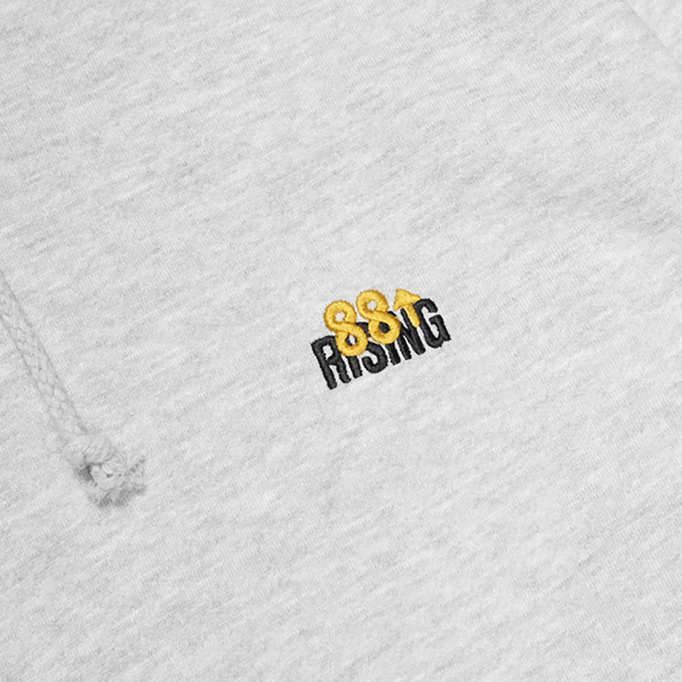 EMBROIDERED LOGO GREY FLEECE HOODIE 88RISING