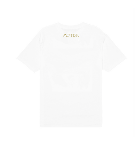 YELLOW COVER ART TEE IN WHITE