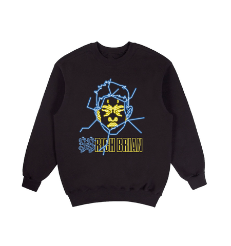 YELLOW GLASS CREWNECK IN BLACK