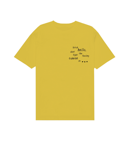 YELLOW SKETCH LYRICS TEE IN YELLOW