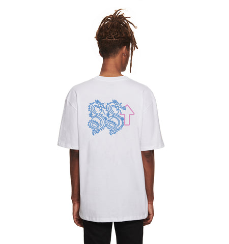 NEON DRAGON WHITE GRAPHIC TEE