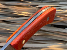 Load image into Gallery viewer, Custom Hand Made 7 inch Fixed Blade with Orange Handles