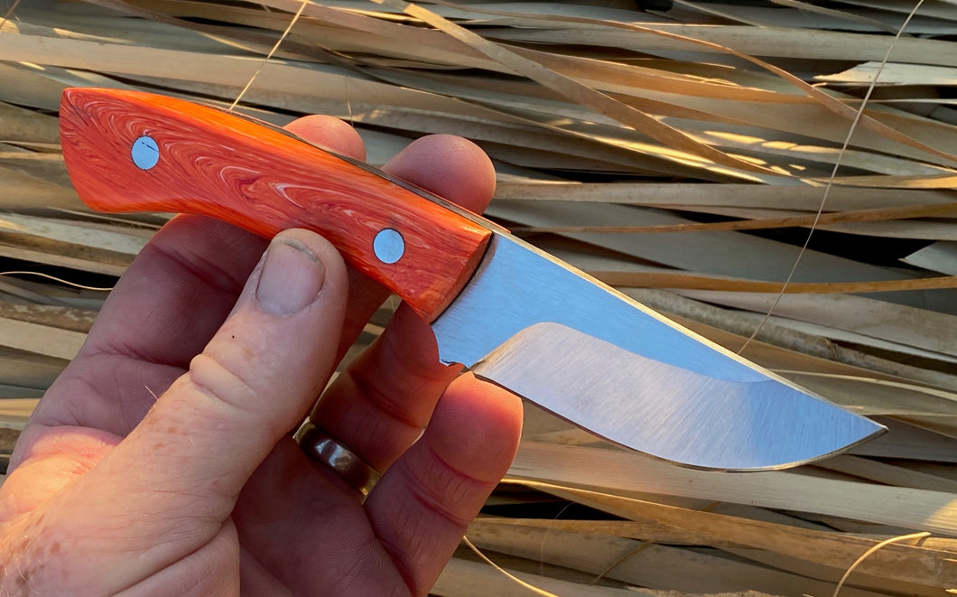 Custom Hand Made 7 inch Fixed Blade with Orange Handles