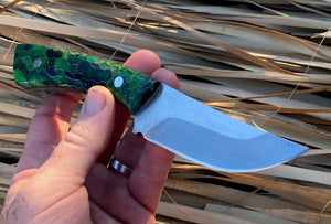 Custom Hand Made 8 inch Fixed Blade with Green Honey Comb Handles