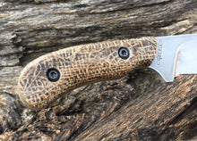Load image into Gallery viewer, Custom Hand Made Fixed BladeNeck Knife with Burlap Micarta Scales