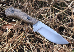 Custom Hand Made Fixed BladeNeck Knife with Burlap Micarta Scales
