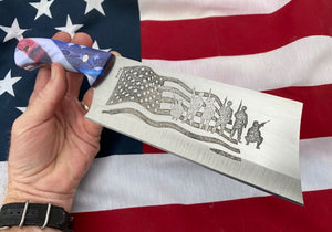 American Flag Themed Custom Hand Made Cleaver Chef Knife
