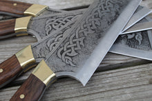 Load image into Gallery viewer, Custom hand made Celtic Cleaver Chef Knife, full tang with walnut handles