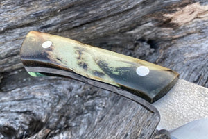 Custom Hand Made 7 3/4 inch Fixed Blade with cast Burl Handles