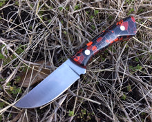 Load image into Gallery viewer, Custom Hand Made 7 inch Camp Knife EDC with Red and Black scales
