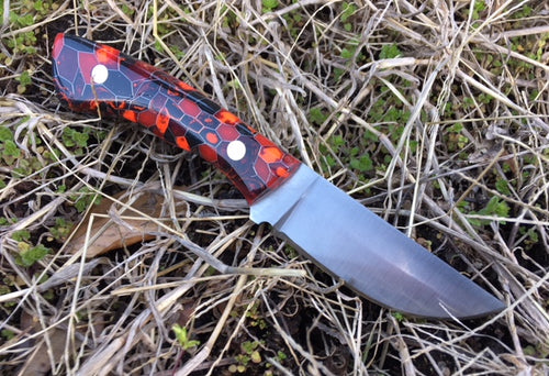 Custom Hand Made 7 inch Camp Knife EDC with Red and Black scales