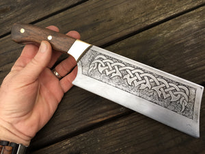 Custom hand made Celtic Cleaver Chef Knife, full tang with walnut handles