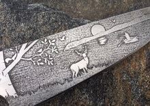 Load image into Gallery viewer, Deer on the Lake Themed Custom Hand Made Chef Knife by Berg Blades