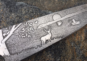 Deer on the Lake Themed Custom Hand Made Chef Knife by Berg Blades