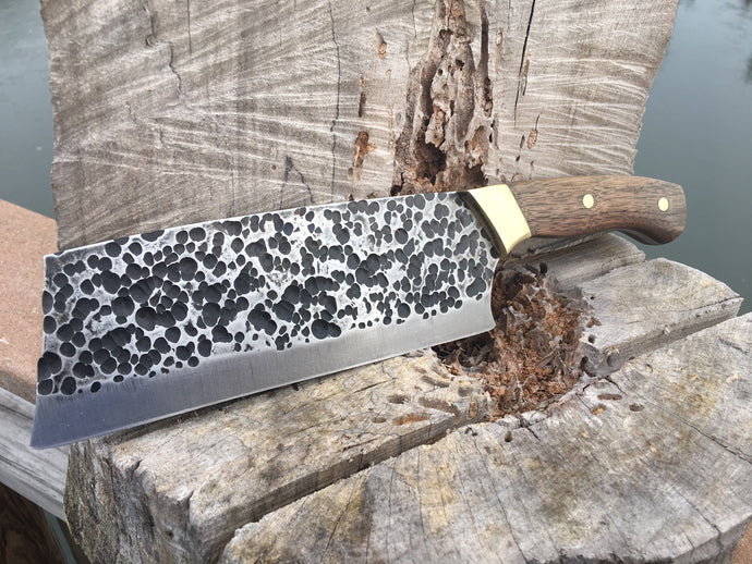 Hammer Peened Modified Cleaver Chef Knife, full tang with walnut handles