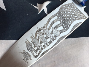 American Flag Patriot Themed Custom Hand Made Chef Knife by Berg Knife Making