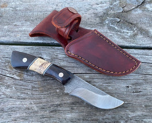 Custom Hand Made 7 3/4 inch Fixed Blade with Blackwood segmented Handles